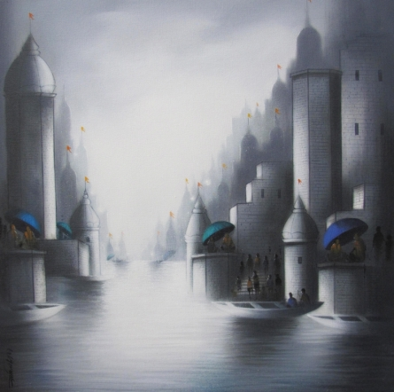 Somnath Bothe | Mixed-media Painting title Holy Banaras 3 on Canvas | Artist Somnath Bothe Gallery | ArtZolo.com