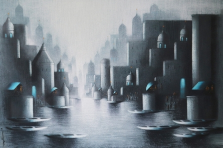 Cityscape Acrylic-charcoal Art Painting title Holy Banaras by artist Somnath Bothe
