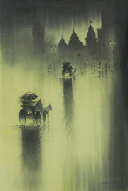 Monsoon I | Drawing by artist Somnath Bothe |  | charcoal | Canvas