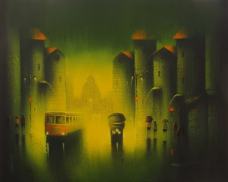 Cityscape Acrylic Art Painting title Monsoon by artist Somnath Bothe