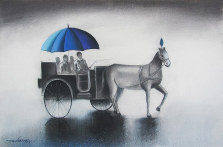 Cityscape Mixed-media Art Painting title 'Monsoon Ride' by artist Somnath Bothe