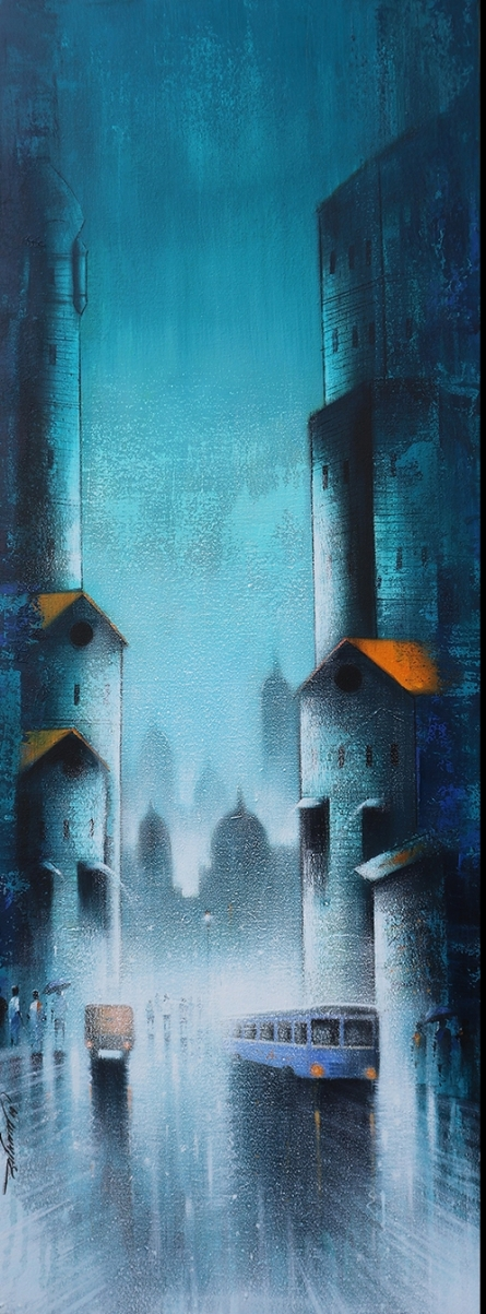 Cityscape Acrylic Art Painting title 'Monsoon Ride 11' by artist Somnath Bothe