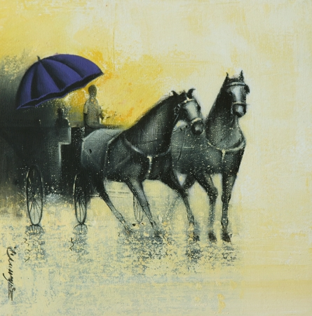 Somnath Bothe Paintings | Acrylic-charcoal Painting - Monsoon Ride 16 by artist Somnath Bothe | ArtZolo.com