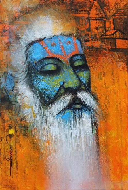 Religious Acrylic Art Painting title 'Mystic Sadhu 1' by artist Somnath Bothe