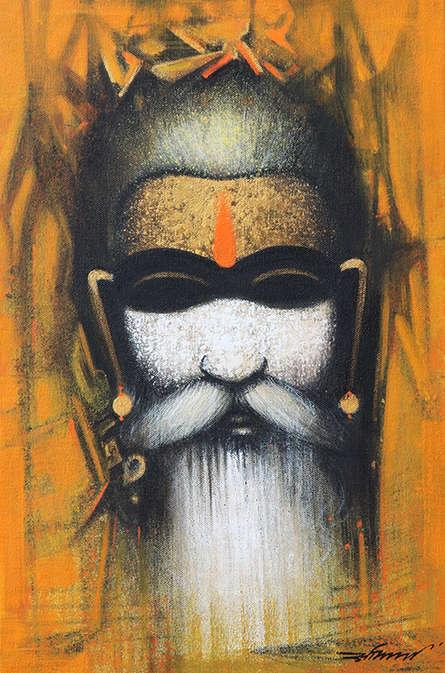 Religious Acrylic Art Painting title 'Mystic Sadhu 2' by artist Somnath Bothe