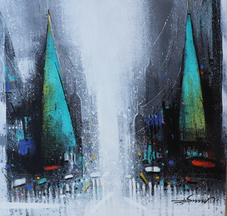 Cityscape Acrylic Art Painting title 'Path Of Heaven 2' by artist Somnath Bothe