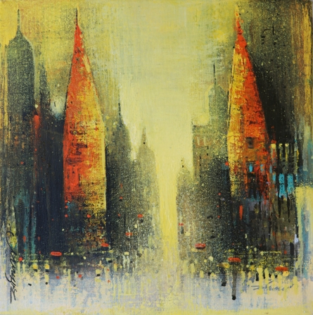 Cityscape Acrylic Art Painting title 'Path Of Heaven 3' by artist Somnath Bothe