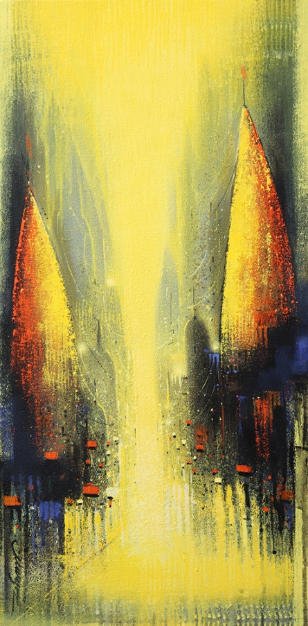 Cityscape Acrylic Art Painting title 'Path Of Heaven 4' by artist Somnath Bothe