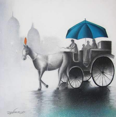 Somnath Bothe | Mixed-media Painting title Rhythmic Monsoon Blue on Canvas | Artist Somnath Bothe Gallery | ArtZolo.com