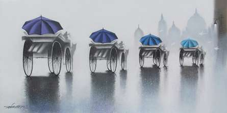 Cityscape Mixed-media Art Painting title 'Rhythmic Monsoon Ride 1' by artist Somnath Bothe