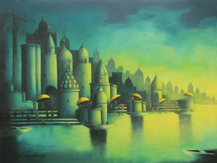 Somnath Bothe | Acrylic Painting title Holy Banaras on Canvas | Artist Somnath Bothe Gallery | ArtZolo.com