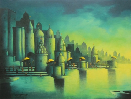 Holy Banaras | Painting by artist Somnath Bothe | acrylic | Canvas