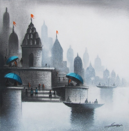 Landscape Charcoal Art Drawing title 'Holy Banaras 3' by artist Somnath Bothe