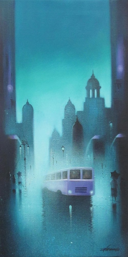 Monsoon Night | Painting by artist Somnath Bothe | acrylic | Canvas