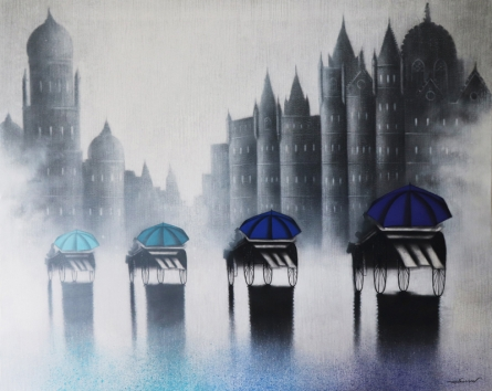 Cityscape Acrylic-charcoal Art Painting title Victoria Ride by artist Somnath Bothe