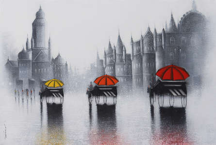 Cityscape Acrylic-charcoal Art Painting title Victoria Ride In Mumbai by artist Somnath Bothe