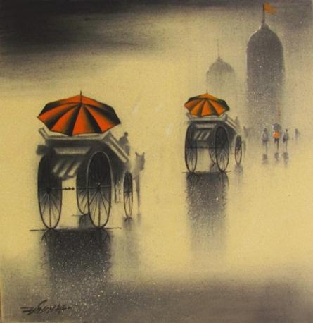 Rhythmic Monsoon V | Drawing by artist Somnath Bothe |  | charcoal | Canvas