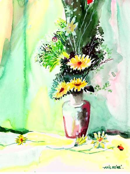 Flower And Vase | Painting by artist Anil Nene | watercolor | Paper