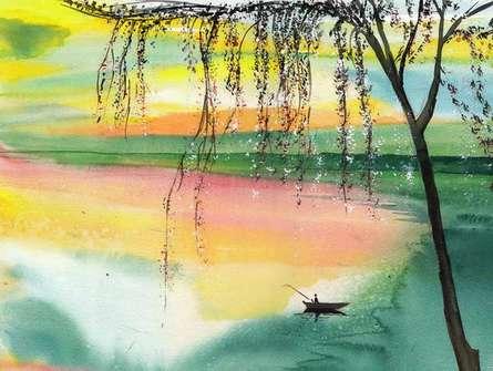 Landscape Watercolor Art Painting title 'Fishing 1' by artist Anil Nene