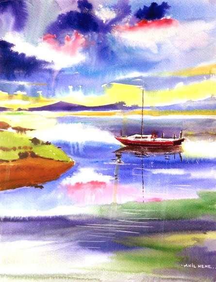 Landscape Watercolor Art Painting title 'Boat N Colors' by artist Anil Nene