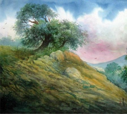 Landscape  1 | Painting by artist RD Roy | watercolor | Paper
