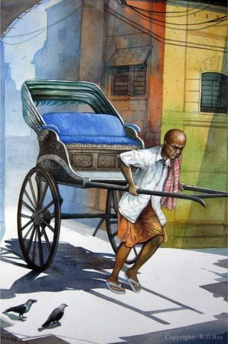 Photorealistic Watercolor Art Painting title 'Rickshawwala 1' by artist RD Roy