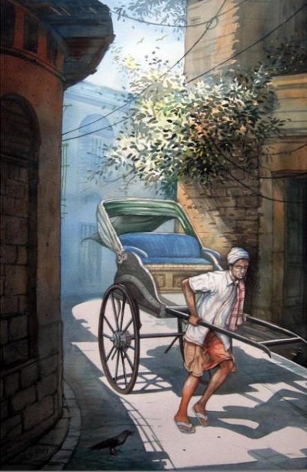 Rickshawwala 2 | Painting by artist RD Roy | watercolor | Paper