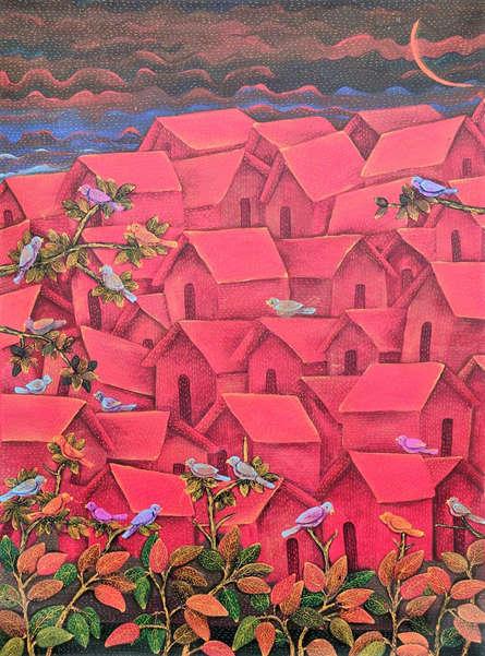 Cityscape Acrylic Art Painting title Untitled 1 by artist Sadaf Beg Khan