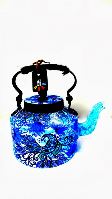 Rithika Kumar | Blue Peacock Tea Kettle Craft Craft by artist Rithika Kumar | Indian Handicraft | ArtZolo.com