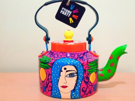 Comfort In Coy Tea Kettle | Craft by artist Rithika Kumar | Aluminium