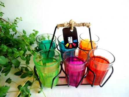Color Splash Cutting Chai Glasses | Craft by artist Rithika Kumar | Glass