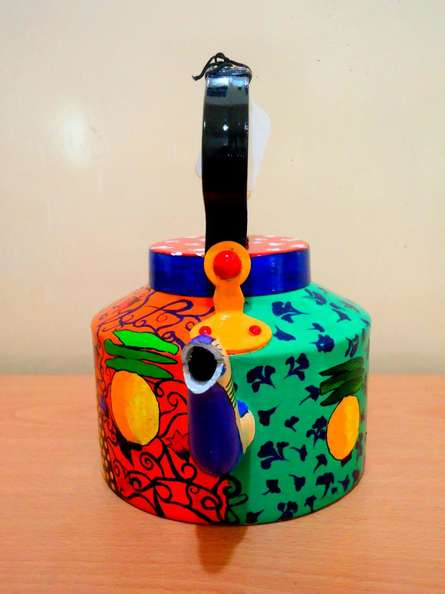 Desi Gone Wild Tea Kettle | Craft by artist Rithika Kumar | Aluminium