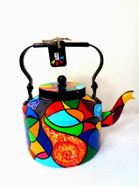 Color Patch Tea Kettle | Craft by artist Rithika Kumar | Aluminium