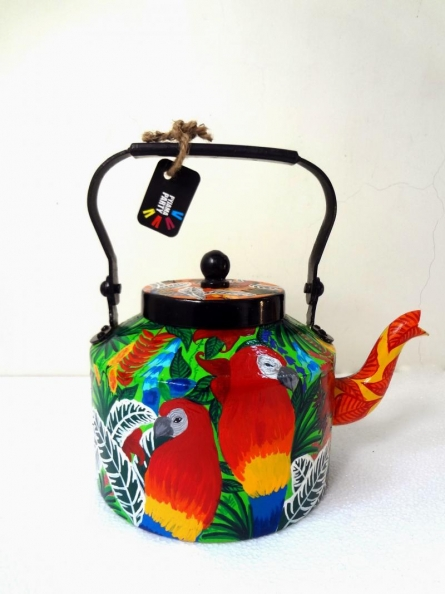 Rithika Kumar | Rain Forest Limited Edition hand painted kettle Craft Craft by artist Rithika Kumar | Indian Handicraft | ArtZolo.com