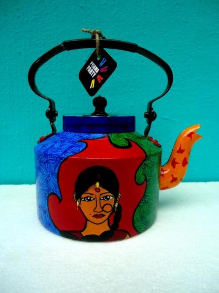 Indie Roots Tea Kettle | Craft by artist Rithika Kumar | Aluminium