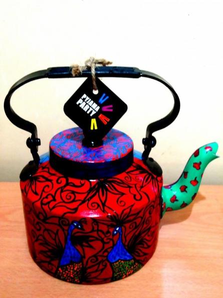 Peacock Tea Kettle | Craft by artist Rithika Kumar | Aluminium