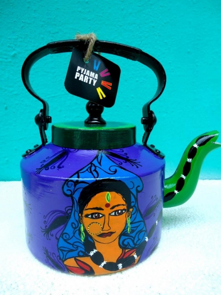 Desi Girl Tea Kettle | Craft by artist Rithika Kumar | Aluminium