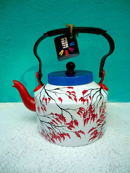 Japanese Geisha Tea Kettle | Craft by artist Rithika Kumar | Aluminium