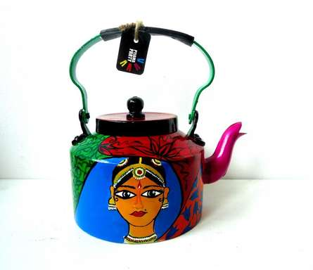Kathakali Tea Kettle | Craft by artist Rithika Kumar | Aluminium