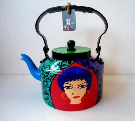Free Spirit Women Tea Kettle   Craft by artist Rithika Kumar   Aluminium