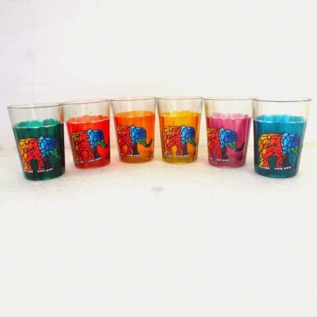 Elephants Cutting Chai Glasses | Craft by artist Rithika Kumar | Glass