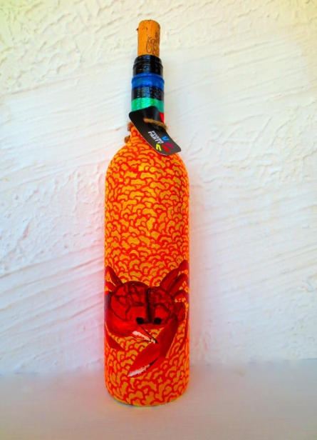Rithika Kumar | Sandy Crab Hand Painted Glass Bottles Craft Craft by artist Rithika Kumar | Indian Handicraft | ArtZolo.com