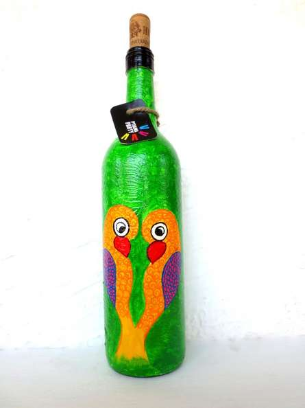 Rithika Kumar | Love Birds Hand Painted Glass Bottles Craft Craft by artist Rithika Kumar | Indian Handicraft | ArtZolo.com