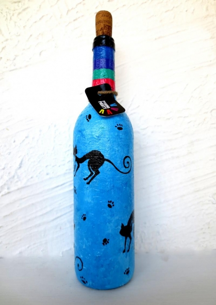 Purr Hand Painted Glass Bottles | Craft by artist Rithika Kumar | Recycled Glass