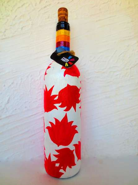 Flower Fixation Hand Painted Glass Bottles | Craft by artist Rithika Kumar | Recycled Glass