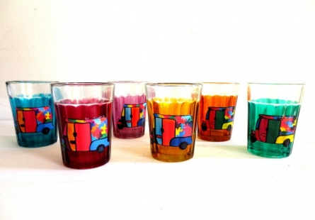 Rickshaw Cutting Chai Glasses | Craft by artist Rithika Kumar | Glass
