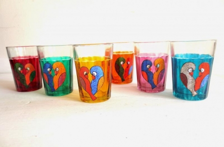 Love Birds Cutting Chai Glasses | Craft by artist Rithika Kumar | Glass
