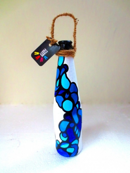 Bottle Planter - Fluid Blue | Craft by artist Rithika Kumar | Recycled Glass