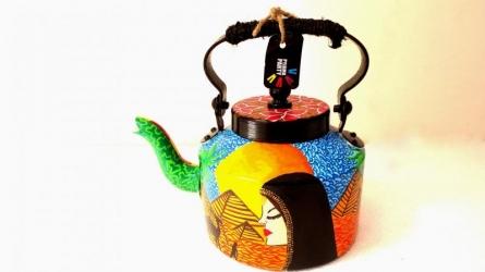 Traditional Arab Tea Kettle   Craft by artist Rithika Kumar   Aluminium
