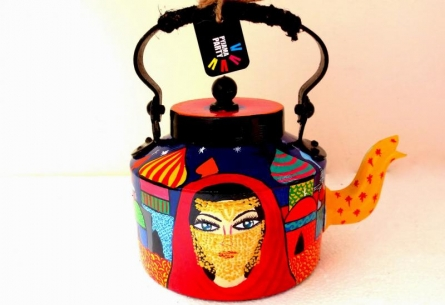 Veiled Woman Tea Kettle | Craft by artist Rithika Kumar | Aluminium